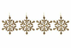 S/4 Snowflake Ornaments, Gold