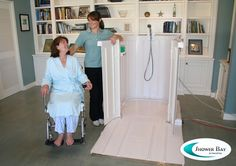 Shower Bay Portable Shower for Wheelchair Users-takes away the difficulty of maneuvering wheelchairs in bathrooms to take a shower and the expensive home renovations. From Assistive Technology Blog. Pinned by SOS Inc. Resources @sostherapy.