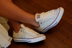 Converse Shoes Made For You Bridal Prom Bling Sneakers All Sizes Any Size #Converse #FashionSneakers