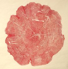 """""""…Cross-section plates from Bryan Nash Gill's Woodcut (public library) — a magnificent collection of the artist's large-scale relief prints from the cross-sections of. Logo Atelier, Tree Rings, Ouvrages D'art, Red Tree, Art Graphique, Autumn Trees, Printmaking, Art Photography, Meditation"""