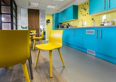 Ultimate Finance | The yellow and turquoise tea point and office kitchen. Bright Bold fun.