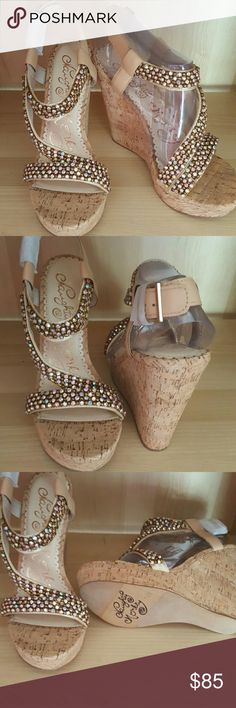 Naughty Monkey Size 9.5 Brand New In Box No Tags  Style Candy Crushin Bling with Cork Wedge 5in Super Hot naughty monkey Shoes Wedges