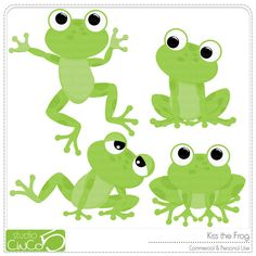 Buy 2 get 1 FREE - Kiss the Frog - Digital Clip Art , Commercial Use Clipart, Scrapbook, Printable - INSTANT DOWNLOAD