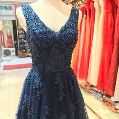 Blue Beading Lace Long Evening Dresses luxury Formal