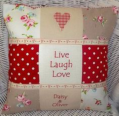 Sewing Cushions Patchwork cushion - would be simple to make using scrap fabrics and fusible webbing for the applique. Sewing Pillows, Diy Pillows, Decorative Pillows, Applique Cushions, Patchwork Cushion, Quilted Pillow, Fabric Crafts, Sewing Crafts, Sewing Projects