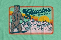 Retro Glacier National Park 80's Grizzly Bear Unisex | Etsy Outdoor Logos, Nba, Graphic Tees, National Parks, Outdoors, Unisex, Retro, T Shirt, Design