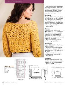 the motifs of the yoke on this seamless, stretchy crochet tunic circle the shoulders and draw the eye to your face while providing a framewo. Lace Knitting Patterns, Knitting Stitches, Free Knitting, Sweater Patterns, Knitting Tutorials, Loom Knitting, Stitch Patterns, Clothes Patterns, Pull Poncho