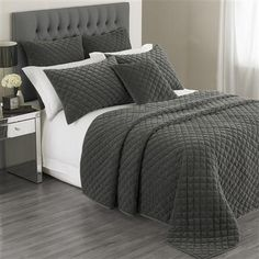 Exclusive to ACHICA Hotel Living Turenne 265 x 265cm Bedspread, Graphite