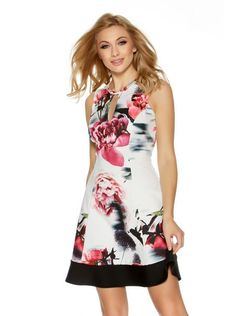 Cream And Pink Floral Flippy Dress
