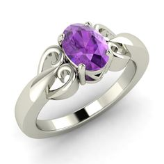 .79 Ct Oval Cut Certified Purple Amethyst Solitaire Ring in Solid 14k White Gold - Genuine Gemstone
