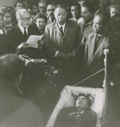 Hector Garcia, 'Frida Kahlo in coffin and Diego Rivera at funeral', 1954