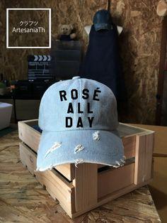 Baseball Cap Rose All Day Hat, Denim Cap, Jean Cap, Funny Cap, Girlfriend gift, Low-Profile Baseball, Cap Baseball Hat