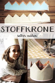 Handicraft instructions / sewing instructions for a quickly made fabric crown (. - Handicraft instructions / sewing instructions for a quickly made fabric crown (…, - Sewing Projects For Kids, Sewing For Kids, Baby Sewing, Free Sewing, Diy For Kids, Crafts For Kids, Diy Birthday Crown, Fabric Crafts, Sewing Crafts