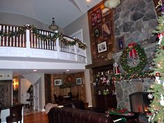 Great Room and balcony at  Christmas