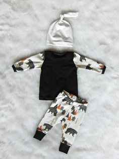 Baby Boy Coming Home Outfit, Bear in the Woods, Pants, Shirt, and Matching Knot Hat, 0-3 mos, Ready to Ship by brambleandbough on Etsy https://www.etsy.com/listing/245039852/baby-boy-coming-home-outfit-bear-in-the