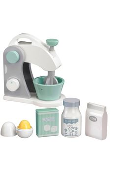 Kids Concept wooden food mixer set is perfect for pretend play kitchen and party. Features a mixer with mixing bowl, egg with york, sugar, flour and milk. Modern Kids Furniture, Steel Furniture, Cool Furniture, Furniture Removal, Wooden Food, Wooden Cake, Scandinavian Toys, Mixer, Wooden Play Kitchen