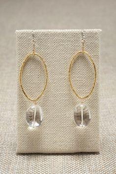 Clear Quartz and Gold Hoop Earrings