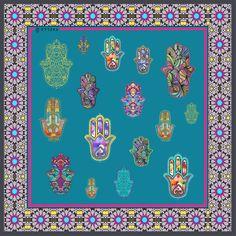 YAELLE Hamsa Turquoise Silk Scarf  www.yaelle.co.uk