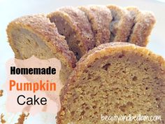 This incredibly moist, and easy homemade pumpkin cake is sure to please any crowd. You& want to double this homemade pumpkin cake recipe and freeze extras for later. Homemade Pumpkin Cake Recipe, Pumpkin Cake Recipes, Pumpkin Dessert, Pumpkin Bread, Pumpkin Spice, Fall Recipes, Sweet Recipes, Scones, Baking Recipes