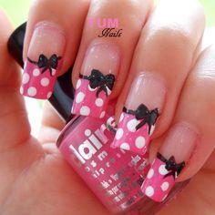 Cute bows and polka dots nail art nails ★ в 2019 г. nails, m Fancy Nails, Trendy Nails, Pink Nails, Gel Nails, Nail Polish, Mickey Nails, Minnie Mouse Nails, Pink Minnie, Disney Nail Designs