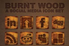 logo, social icons, icon design, icon set, background, burnt wood, social media icons, medium, website designs