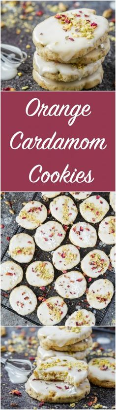 Recipe for Orange Cardamom Cookies- The crumbly shortbread cookie base is studded with chopped pistachios and topped with a light glaze.