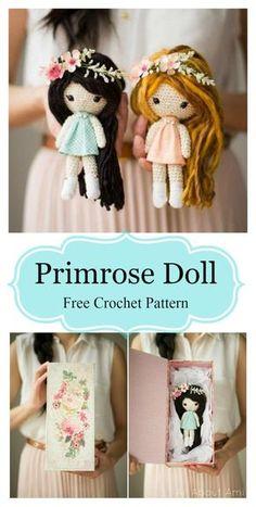 Primrose Doll Amigurumi Free Crochet Pattern #freecrochetpatterns #amigurumi #amigurumidoll Cute Crochet, Crochet For Kids, Diy Crochet Doll, Crochet Gifts, Knit Or Crochet, Crochet Doll Tutorial, Crochet Doll Clothes, Crochet Tutorials, Knitted Dolls