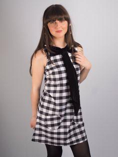 60's Black and White Gingham Shift Dress With Black Velvet Bow