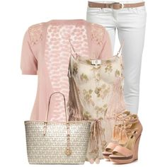 """Pink Short Sleeve Cardigan and Wedges"" by daiscat on Polyvore"