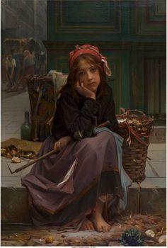 Guillaume-Charles Brun - JOVEM VENDEDORA DE PANO - 1870