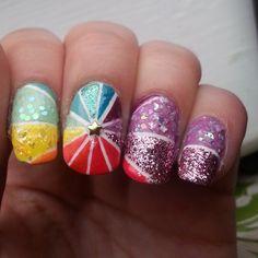 """(Repost) one of my favorite designs ♡☆♡☆♡☆♡☆ #rainbownails #nailstuds #stripingtape #flakienails #flakies #glitternails #nailart #naildesign…"""