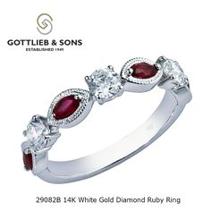 Elegant and sophisticated this 14K White Gold Diamond and #Ruby ring will become your favorite piece of jewelry.  This ring features alternating red marquise cut rubies and round #diamonds for a classically modern look. Visit your local #GottliebandSons retailer and ask for style number 29082B. http://www.gottlieb-sons.com/product/detail/29082B