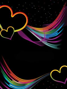 Colorful Heart Backgrounds | Colorful Heart on Black Background L