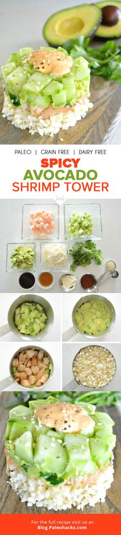Here's a Paleo take on the shrimp tower often found in sushi restaurants. Bursting with clean Asian flavors, this chilled appetizer is the perfect way to impress your guests. For the full recipe, visi Avocado Recipes, Paleo Recipes, Asian Recipes, Cooking Recipes, Carb Cycling Diet, Japanese Diet, Healthy Snacks, Healthy Eating, Shrimp Avocado