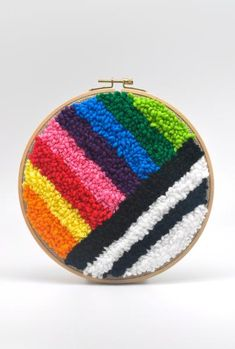 Fifi Dee – Rainbow Punch Needle Kit – Rug making Embroidery Kits, Cross Stitch Embroidery, Rainbow Punch, Rug Hooking Kits, Rainbow Socks, Punch Needle Kits, Monks Cloth, Yarn Cake, Craft Punches