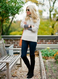 50/50 boots, jeans & cable sweater w/ stripe top