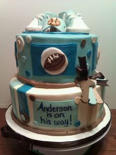 Sports Themed Baby Shower Cake By Jody130 on CakeCentral.com