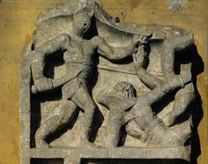 Two gladiators fighting. Fragment of a relief Cat. 417   Museo Nazionale Romano, Rome, Italy