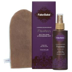 Fake Bake Flawless Self-Tan Liquid & Mitt is the ultimate luxurious self-tan liquid applied with professional mitt (included), promotes a flawless golden bronze tan on all skin tones. This luxurious liquid uses our unique, naturally derived tanning formula to create an intense, longer lasting tan. The light, fast drying and non-sticky liquid works upon contact with skin, without clogging pores.
