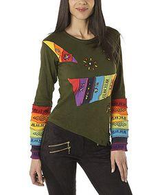 Love this Khaki & Orange Rainbow Asymmetrical Top on #zulily! #zulilyfinds