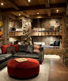 I would love to do the boys' room this way but they want lime green....ugh #RusticCabins #LogCabinFurniture