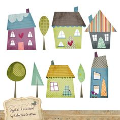 Little Houses digital clipart from Collective Creation http://www.etsy.com/shop/CollectiveCreation #scrapbooking #art