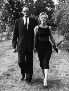 Marilyn and her then husband Arthur Miller photographed shortly after they arrived in London for the production of The Prince and the Showgirl, 1956.
