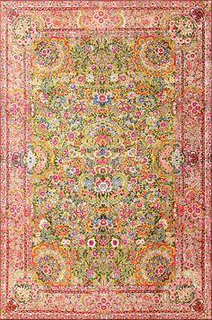 Saffron Yellow Antique Persian Kerman Rug 48659