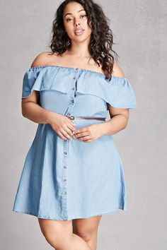 Forever 21+ - A chambray denim mini dress featuring an elasticized off-the-shoulder neckline with a flounce layer, a buttoned placket, short flounce sleeves, and a removable skinny faux leather belt. This is an independent brand and not a Forever 21 branded item.