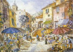 """Marché à Flayosc (Ref/GIR034) by Philippe Giraudo - Reproduction 70 x 50 cm (19.75"""" x 27.60"""") - $ 24.99 Reproduction, Philippe, French Riviera, French Artists, Painting, Painting Art, Paintings, Painted Canvas, Drawings"""