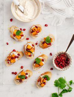 Sweet Potato Pomegranate Crostini / vegan