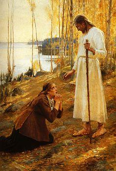 Albert Edelfelt Le Christ et Marie Madeleine, 1890, Légende finlandaise Huile sur Toile  221x154cm Helsinki, Ateneum Taidemuseo