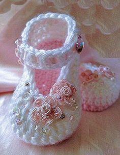 Crochet Baby Girl Crochet Child Booties ♥♥ Crochet Baby Booties Supply : ♥♥… by debozark Booties Crochet, Crochet Baby Sandals, Baby Girl Crochet, Crochet Baby Clothes, Crochet Shoes, Crochet Slippers, Baby Booties, Crochet Baby Blanket Beginner, Quick Crochet