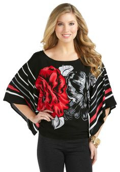 Rose Print Dolman Top - Plus Shirts & Blouses Cato Fashions